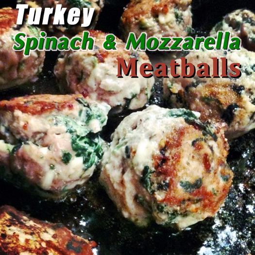 Turkey Spinach Mozzarella Meatballs